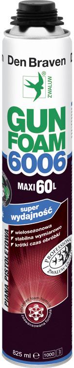 PIANKA 6006 SUPER WYDAJNOŚĆ MAXI 60L 825ml DEN BRAVEN GUN FOAM WIELOSEZONOWA